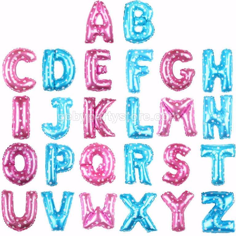 Pink / Blue Small Alphabet Foil