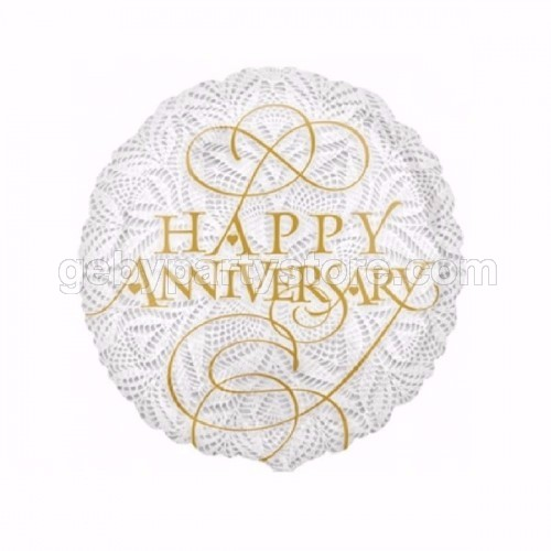HAPPY ANNIVERSARY LACE FOIL BALLOON 18""